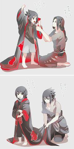 Sasuke and Itachi Uchiha brothers Itachi Uchiha, Naruto Shippuden Sasuke, Sasuke Akatsuki, Naruto Sasuke Sakura, Boruto, Sasunaru, Anime Naruto, Naruto Cute, Naruto Funny
