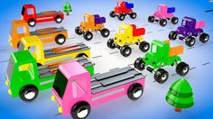 Colors for Children to Learn with Wooden Monster Trucks Toy Vehicles Tra...