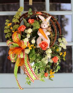 Check out this item in my Etsy shop https://www.etsy.com/listing/225432533/easter-bunny-spring-wreath