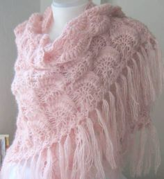 Crochet Hand Silver Glitter Powder Pink Shawl... beautiful