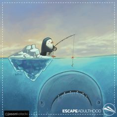 Fishing by Jason Kotecki. Year 2016, Going Fishing, Penguins, Comic Art, Whale, Ocean, Projects, Painting, Log Projects