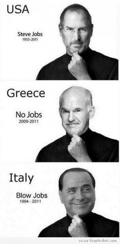 Comparaison humoristique entre trois personnalités : Steeve Jobs, Georgios Papandréou et Silvio Berlusconi ! :-)