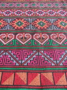 Geometry embroidery fabric Karen and Hmong by HeritageSupplies