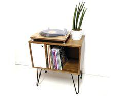 Vinyl Record Storage Console Table Record Cabinet