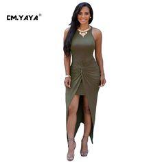 CMYAYA 2016 New Women Sexy Summer Army Green Sleeveless Off the Shoulder Asymmetrical Maxi Split Dress at our web shop http://www.aliexpress.com/store/536244