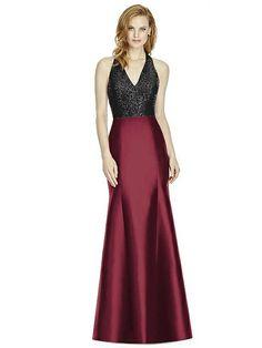 Studio Design Collection 4514 Full Length Halter V-Neck Bridesmaid Dress   The Dessy Group