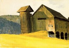 Edward Hopper - Barn And Silo, Vermont 1927 (we visited a barn like this in Iowa)