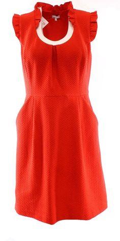 Tabitha NEW Orange Chevron Knit Ruffle Sleeve Women's Size 10 Sheath Dress $188 #Tabitha #Sheath #WeartoWork
