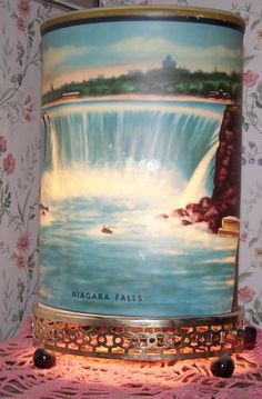 Niagara Falls motion lamp. A panel inside it turns and makes the waterfall move. My grandma had one of these.