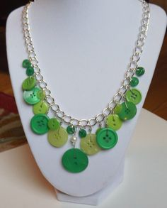 Green Button Necklace by LoveButtonDesigns on Etsy, $15.00