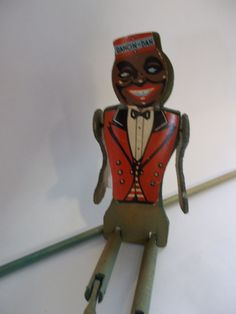 1930's DANCIN' DAN JiGGER Toy/  Wooden Black AMERICANA/ Dancing Wood Antique Toys JiG Doll w/ Original Advertisement.