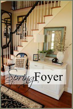 Lovely foyer vignette for spring - Stone Gable. Entrance Foyer, Entryway Decor, Foyer Furniture, Small Foyers, Foyer Decorating, Decorating Ideas, Decorating Cakes, Decor Ideas, French Country Living Room