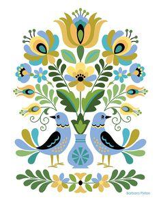 Hungarian Embroidery, Folk Embroidery, Folk Art Flowers, Flower Art, Polish Folk Art, Scandinavian Folk Art, Bird Drawings, Painting Patterns, Pattern Art