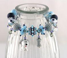 Handmade White and Grey Dog Lampwork Bracelet by BIMSBangles, $155.00
