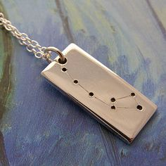 Personalised star sign, constellation necklace in sterling silver