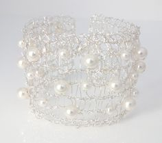 Knitted Wire Bracelet, Silver Wire with White Pearls - Contemporary Wedding from PollyAJewellery at Folksy.com