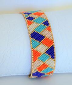 Bracelet manchette en perles Miyuki delicas 11/0 couleur et plaqué or