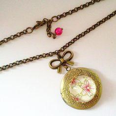 Sakura Locket  Jewellery Shabby Chic by glamasaurus on Etsy, $24.00