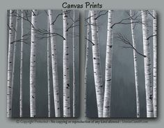 Minimalist black white & gray home or office decor - canvas prints of birch tree painting by Denise Cunniff - ArtFromDenise.com. View more info at https://www.etsy.com/listing/204872204