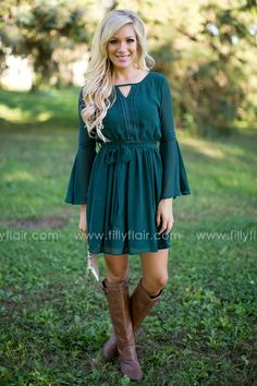 Beautiful fall dress with boots for fall!