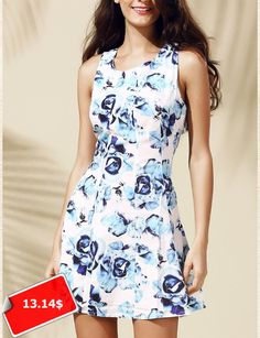 Women's Casual Round Neck Floral Print Sleeveless Dress