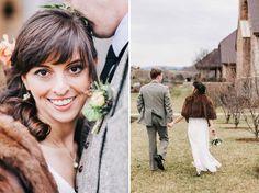 Winter Vineyard Wedding - dreamy fur for outdoor shots!
