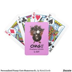 Personalized Funny Cute Humorous Birthday OMG Bicycle Playing Cards