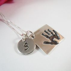 Child's Handprint Necklace - Your Childs ACTUAL Handprint - Handprint Jewelry - Sterling Silver Square Charm with Initial Charm.