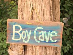 BOY MAN CAVE Barn Wood Sign Hand Painted Reclaimed Plaque Primitive Wall Hanging Decor.  via Etsy.