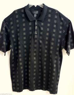 J Ferrar Mens Polo Shirt Size 2XL Black Beige 100% Cotton Dry Cleaned
