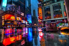 Rainy Times Square [Explored] | 3 shot HDR handheld in the r… | Flickr