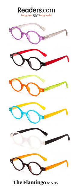Named The Flamingo because they're an attention grabber! These matte readers come in bright colors to fit your personality. From Readers.com