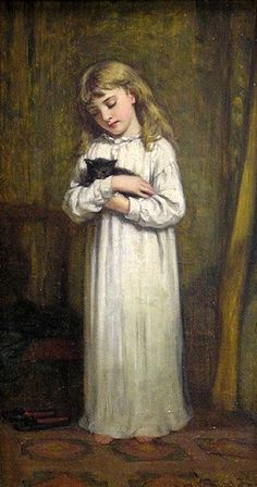 Bedtime by J. H. S. Mann 1849 – 1884 #blackcatsrule www.beststoriesforchildren.com
