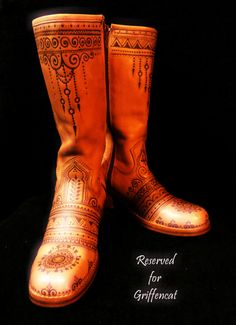Customized pyrographed boots --RESERVED LISTING for Griffencat -- Custom Pyrographed Henna Mehndi Boots  www.facebook.com/behennaed