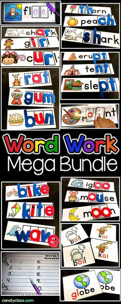This set includes hands on word work practice that covers 872 words! Covers CVC words, diphthongs, bossy r, CVCe long vowel words, vowel teams, ending blends, blends, and digraphs. Use them as activities in a phonics center or station or use them during guided reading. Includes vocabulary cards to introduce the words or to play fun games like go fish, memory, or any other ideas you might have to use them. This set can be used in kindergarten, first grade, or second grade classrooms.