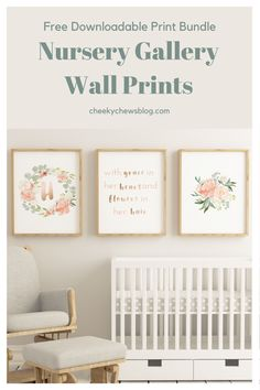 One of my favorite parts abut setting up a nursery is finding the prints to create a beautiful gallery wall. As a little gift to you, I pulled together three sweet prints that work really well together.  The bundle includes a total of 30 8 x 11 prints: all 26 letters of the alphabet, 3 versions of the quote print and 1 floral bouquet print.