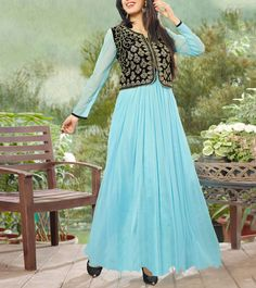 Sky Blue Embroidered Semi Stitched Net Gown