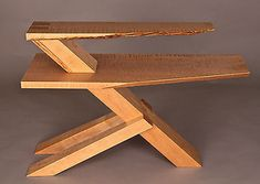 Modern Cantilevered Side End Table, Live Edge, Tiger Maple, Handmade Original
