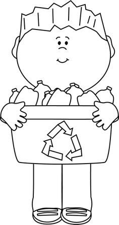 Black and White Boy Carrying a Recycle Bin Clip Art - Black and White Boy…