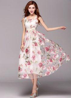 Floral Printed Organza Maxi Dress - Mom Dress Casual - ideas of Mom Dress Casual - Floral Printed Organza Maxi Dress Mob Dresses, Casual Dresses, Fashion Dresses, Formal Dresses, Fashion Top, Latest Party Wear Gown, Party Wear Dresses, Gown Dress Design, Elegant Maxi Dress
