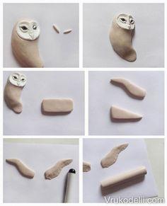 Polymer clay owl – DIY step by step tutorial – FImo DIY, polymer clay tutorials – Air Dry Clay Clay Art Projects, Polymer Clay Projects, Diy Clay, Clay Crafts, Polymer Clay Owl, Polymer Clay Ornaments, Polymer Clay Animals, Clay Birds, Bird Sculpture