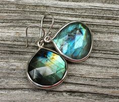 Magical Labradorite Earrings Gray Luminescent Drop by amyfine