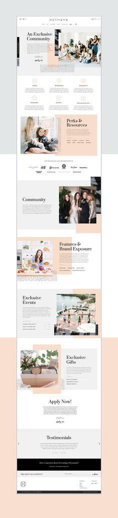 Heymama Branding - Mindsparkle Mag Webdesign inspiration Clean and modern website in white, gray, bl Layout Design, Layout Web, App Design, Graphic Design Studio, Website Design Layout, Logo Design, Homepage Design, Mobile Design, Layout Site