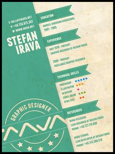 Resume examples or CV examples are one of the best ways to use when creating your own resume / CV. It will help you gather ideas on various ways to create an… Graphic Design Resume, Freelance Graphic Design, Typography Design, Cv Inspiration, Graphic Design Inspiration, Portfolio Resume, Portfolio Design, Web Design, Layout Design