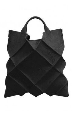 Kagari Yusuke Black Leather & Putty Geometric Tote Bag  | unconventional