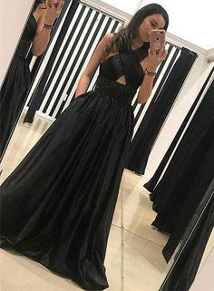 Elegant A-Line Halter Black Satin Long Prom/Evening Dress