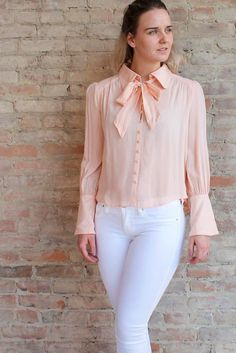 Posey Tie Neck Blouse - Peach #affordable #blouse #Blush-top