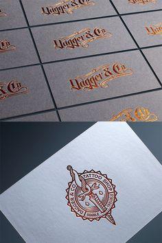 Dagger & Co. by Chad Michael Studio Business Cards Layout, Letterpress Business Cards, Letterpress Wedding Invitations, Business Card Design, Wedding Stationery, Foil Stamping, Stationery Design, Print Design, Graphic Design