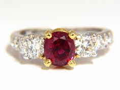 """GIA Certified 1.83Ct Natural Ruby Ring Report: 2175034938 Oval cut Clean Clarity 6.91 X 6.15 X 4.86mm GIA: Vivid Red No Heat & Documented """"Pigeon's Blood"""". Please see prime origin in certificate attac"""