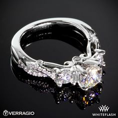 Verragio Twisted Shank Princess 3 Stone Engagement Ring.